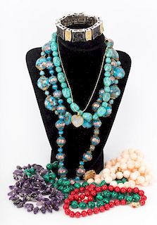 A Collection of Beaded Necklaces & Tchotchke Items