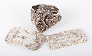 Sterling Silver Bracelet and Belt Buckles