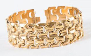 A Stunning Wide 18K Yellow Gold Bracelet