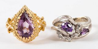 A Pair of Gold Amethyst Rings