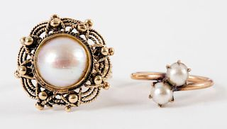 A Pair of Gold Pearl Rings