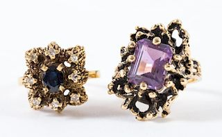 A Pair of Gold Freeform Rings