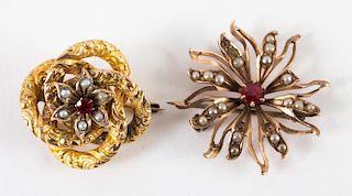 A Pair of Gold Spiral Pins