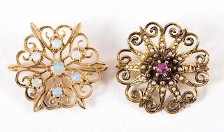 A Pair of Gold Brooches