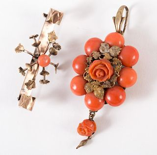 A Vintage Coral Pendant and Bar Pin