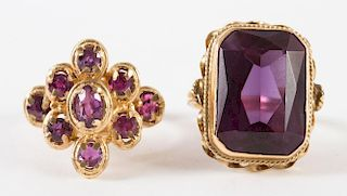 A Pink Tourmaline Ring and an Amethyst Ring