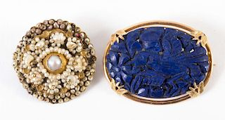 A Hand Carved Lapis Brooch and a Seed Pearl Brooch