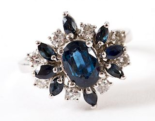 A Sapphire and Diamond Cocktail Ring