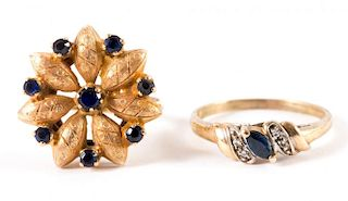 A Pair of Sapphire Rings in Gold