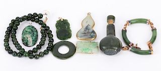 A Grouping of Jade Jewelry