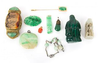A Bag of Jade Jewelry and Malachite Carving