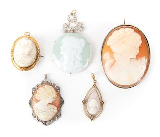 Five Hand Carved Cameos Pendants/Brooches