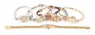 Six Ladies' Gold Wrist Watches