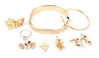 Two Bracelets and A Selection of Gold Jewelry