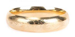 A 14K Gold Hinged Bangle Bracelet