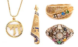 Two Ladies' Rings and Two Pendants in Gold