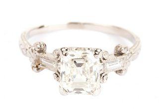 A Lady's Asscher Cut Diamond Ring