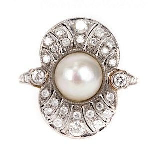 A Victorian Pearl and Diamond Ring