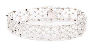 A Gold Diamond Filigree Bracelet