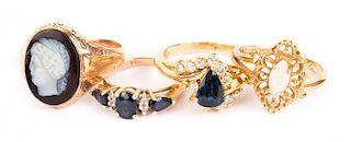 Four Gold Gemstone Ladies' Rings