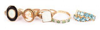 Ladies' Rings in Gold with Blue Topaz Earrings
