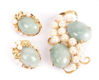 A Jade & Pearl Brooch with Jade Ear Clips