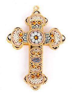 An Italian Micro Mosaic Cross Botonee