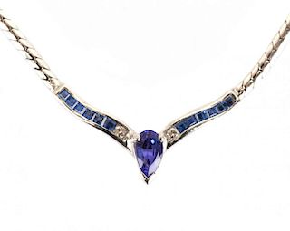 "A Tanzanite and Diamond ""V"" Necklace"