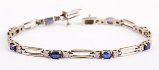 A Sapphire and Diamond Straight Line Bracelet