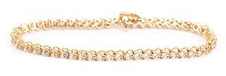 A Straight Line Diamond Bracelet in 14K Gold