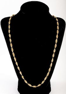 A Four Sided Leaf Link Necklace in 14K Gold