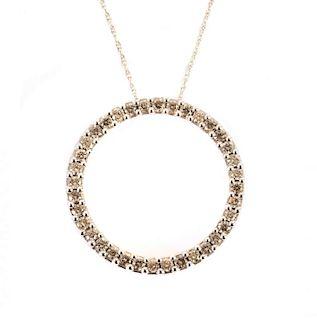 A Diamond Circle Pendant on a Neck Chain