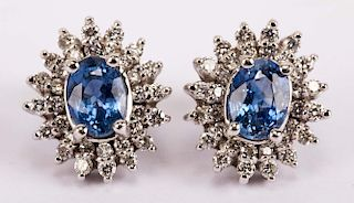 A Pair of Tanzanite and Diamond Ear Studs