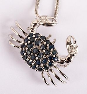 """A Sapphire and Diamond """"Crab"""" Pendant on Chain"""