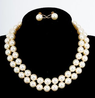 A Double Strand of Majorica Pearls with Ear Studs