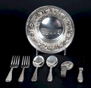 Stieff sterling child's flatware and a bowl