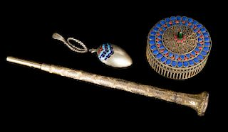 Cloisonne box and spoon and an umbrella handle