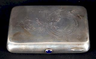 Floral engraved Russian silver cigarette case