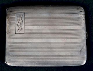Guilloche silver cigarette case by Elgin