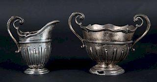 Sheffield silver cream pitcher & sugar bowl