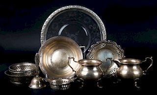 American silver table articles and a bell