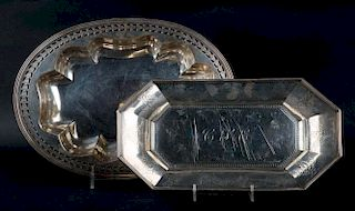 Engraved sterling octagonal bread tray & a bowl