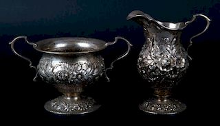 """Kirk """"Repousse"""" cream pitcher and sugar bowl"""
