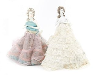 Near pair porcelain doll boudoir lamps