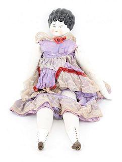 German china and cloth doll