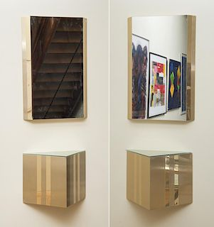 PAIR OF CONSOLES WITH MIRRORS, IN THE STYLE OF PAUL EVANS