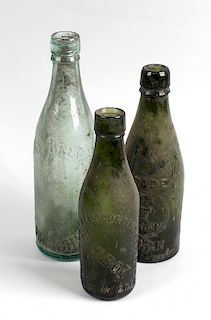 A box containing a large collection of assorted glass bottles Birmingham interest, to include 'Birbo