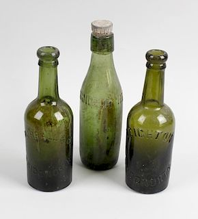 Two boxes containing a large collection of assorted glass bottles Shropshire interest, to include nu