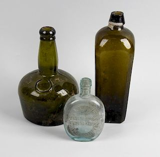 Two boxes containing a large collection of assorted glass bottles To include tapering Dutch-style gr