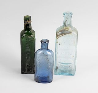 Two boxes containing a large collection of assorted glass bottles To include apothecary examples by